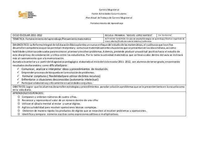 Carrera Magisterial Factor Actividades Cocurriculares Plan Anual de Trabajo de Carrera Magisterial Fortalecimiento del Apr...