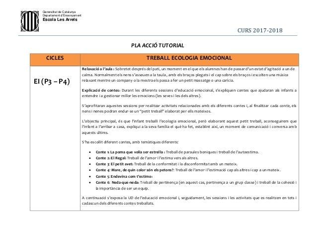 Generalitat de Catalunya Departament d'Ensenyament Escola Les Arrels CURS 2017-2018 PLA ACCIÓ TUTORIAL CICLES TREBALL ECOL...
