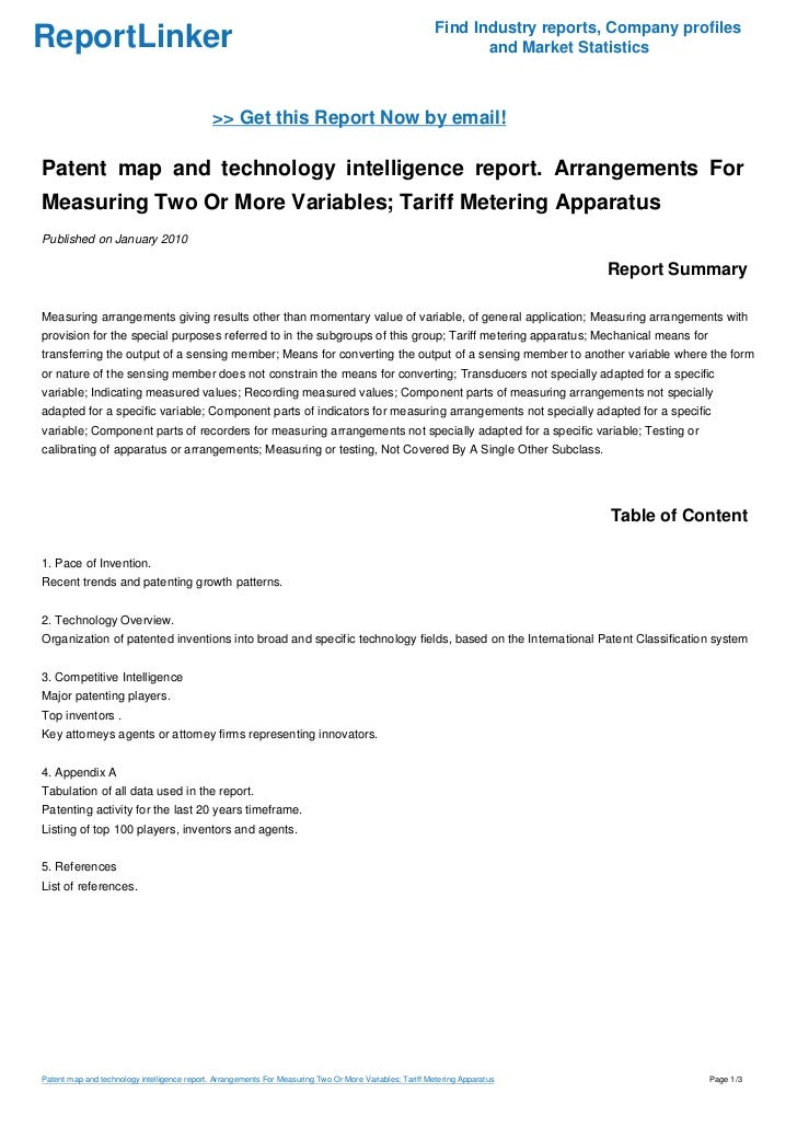Patent map and technology intelligence report. Arrangements For Measuring Two Or More Variables; Tariff Metering Apparatus
