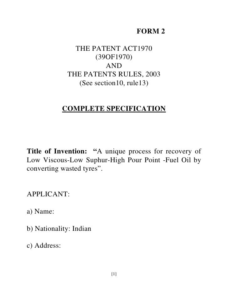 FORM 2                   THE PATENT ACT1970                        (39OF1970)                            AND              ...
