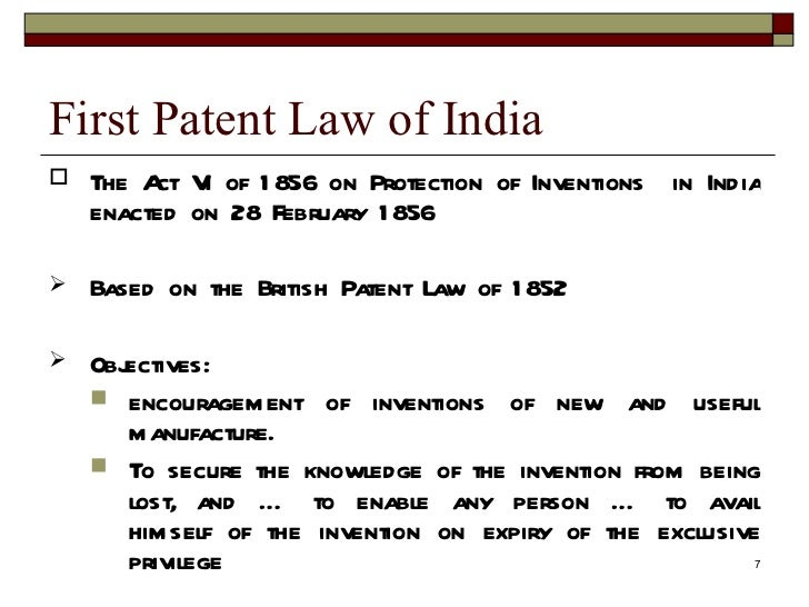 what is patent law in india