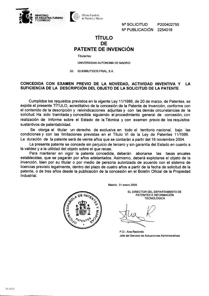 Patente España 1