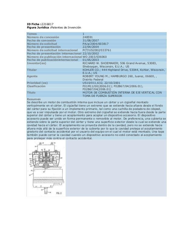 ID Ficha :2216817Figura Jurídica :Patentes de InvenciónTomos                                      1Número de concesión    ...