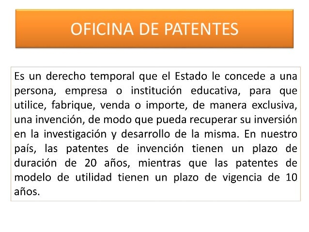 Patentes marcas y franquicias sesion i for Oficina de patentes