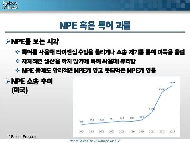 NPE 혹은 특허 괴물 NPE를 보는 시각  특허를 사용해 라이센싱 수입을 올리거나 소송 제기를 통해 이득을 올림  자체적인 생산을 하지 않기에 특허 싸움에 유리함  NPE 중에도 합리적인 NPE가 있고 못되먹은...