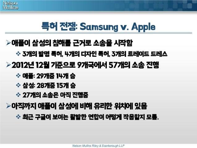 특허 전쟁: Samsung v. Apple 애플이 삼성의 침해를 근거로 소송을 시작함  3개의 발명 특허, 4개의 디자인 특허, 3개의 트레이드 드레스  2012년 12월 기준으로 9개국에서 57개의 소송 진행 ...