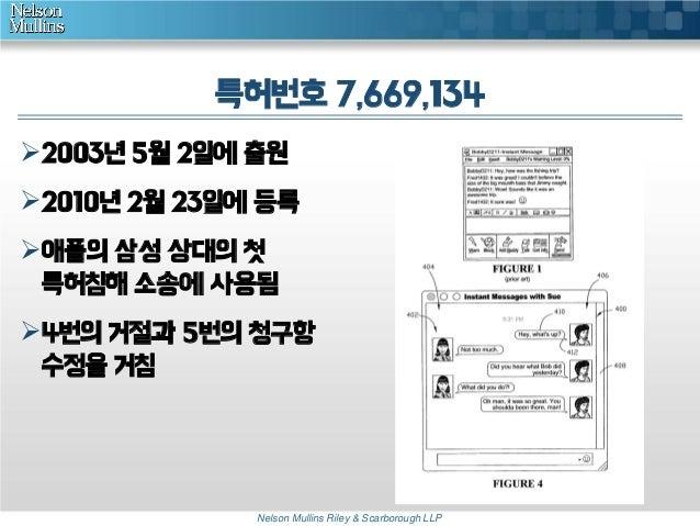 특허번호 7,669,134 2003년 5월 2일에 출원 2010년 2월 23일에 등록  애플의 삼성 상대의 첫 특허침해 소송에 사용됨 4번의 거절과 5번의 청구항 수정을 거침  Nelson Mullins Rile...