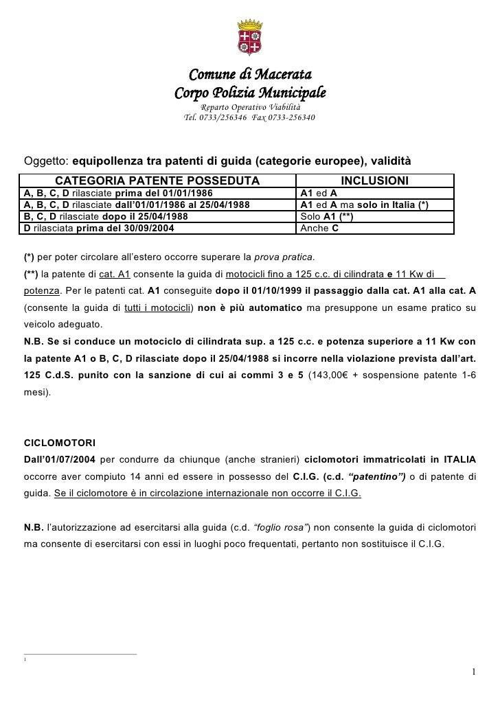 Comune di Macerata                                    Corpo Polizia Municipale                                            ...
