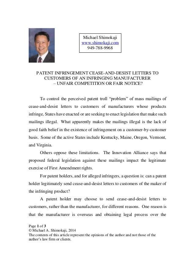 Sample Letter For Trademark Infringement
