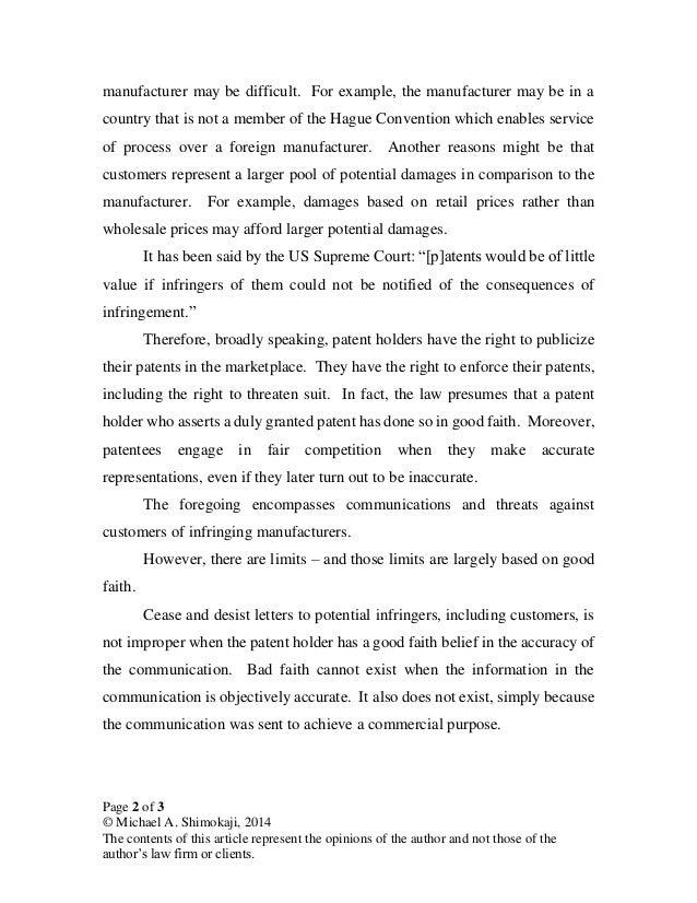 Patent Infringement Letter