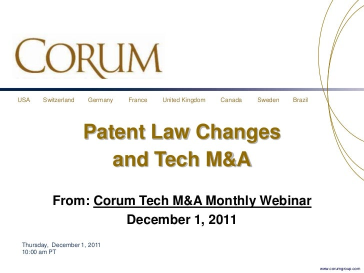 USA     Switzerland   Germany   France   United Kingdom   Canada   Sweden   Brazil                      Patent Law Changes...