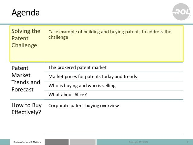 Patent Market 2015 – Buyers, Sellers & What Are They Paying? Slide 2