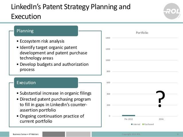 Business Sense • IP Matters 0 200 400 600 800 1000 1200 1400 Pre-2012 2016 Portfolio Internal Purchased ? LinkedIn's Paten...