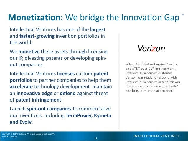Copyright © 2014 Intellectual Ventures Management, LLC (IV). All rights reserved. 11 When Tivo filed suit against Verizon ...