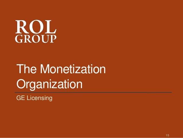 The Monetization Organization GE Licensing 15