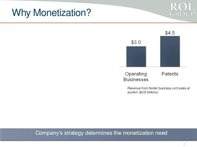 Why Monetization? 3 Revenue from Nortel business unit sales at auction ($US billions) Company's strategy determines the mo...