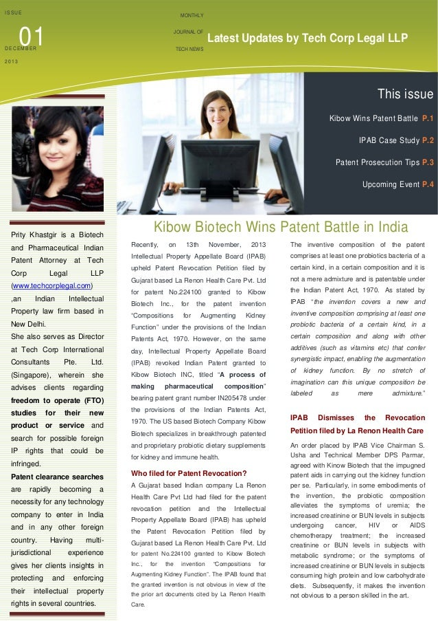 ISSUE  MONTHLY  01  JOURNAL OF  DECEMBER  Latest Updates by Tech Corp Legal LLP  TECH NEWS    2013     This issue    K...