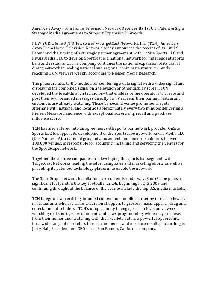 America'sAwayFromHomeTelevisionNetworkReceivesIts1stU.S.Patent&Signs StrategicMediaAgreementstoSupportEx...