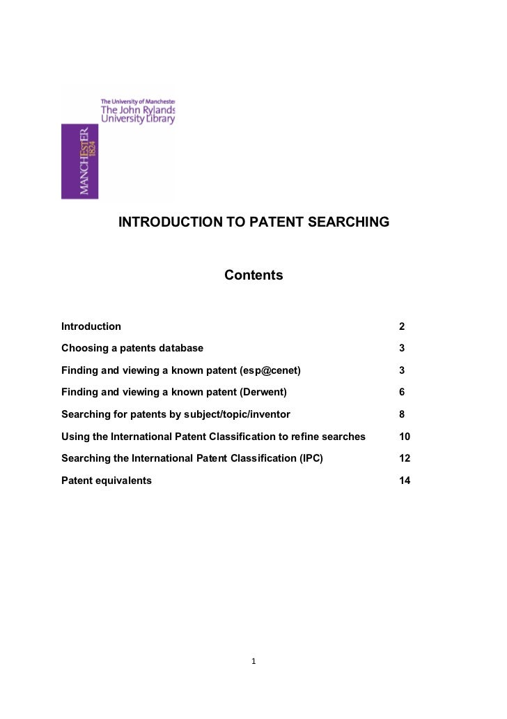INTRODUCTION TO PATENT SEARCHING                                  ContentsIntroduction                                    ...