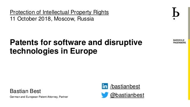 Bastian Best German and European Patent Attorney, Partner Patents for software and disruptive technologies in Europe @bast...