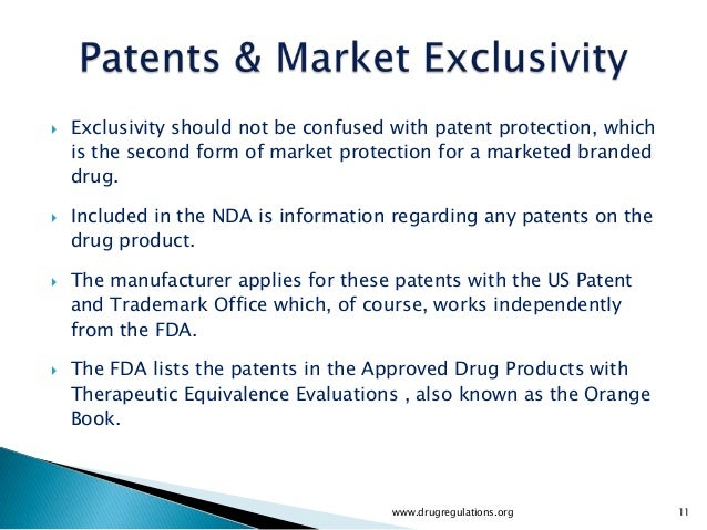    Exclusivity should not be confused with patent protection, which    is the second form of market protection for a mark...