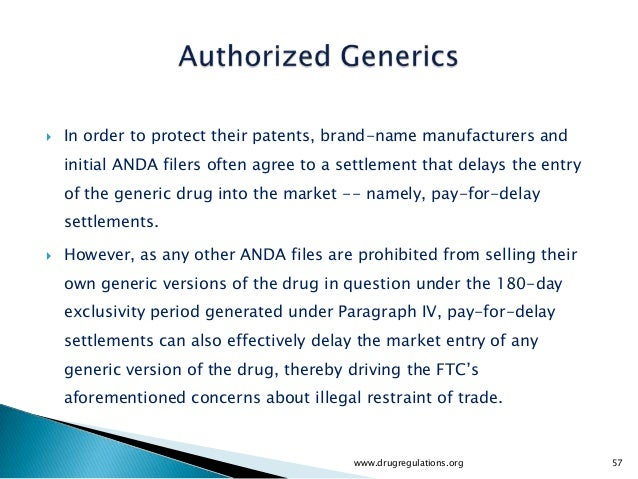    In order to protect their patents, brand-name manufacturers and    initial ANDA filers often agree to a settlement tha...