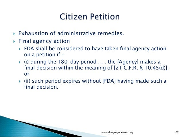    Exhaustion of administrative remedies.   Final agency action       FDA shall be considered to have taken final agenc...