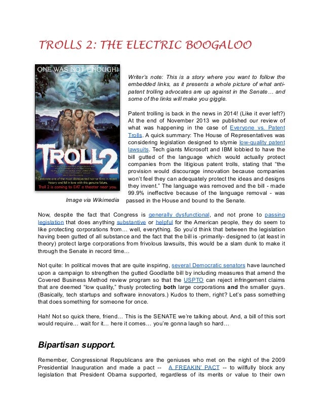 TROLLS 2: THE ELECTRIC BOOGALOO  ! ! !  Writer's note: This is a story where you want to follow the embedded links, as it ...
