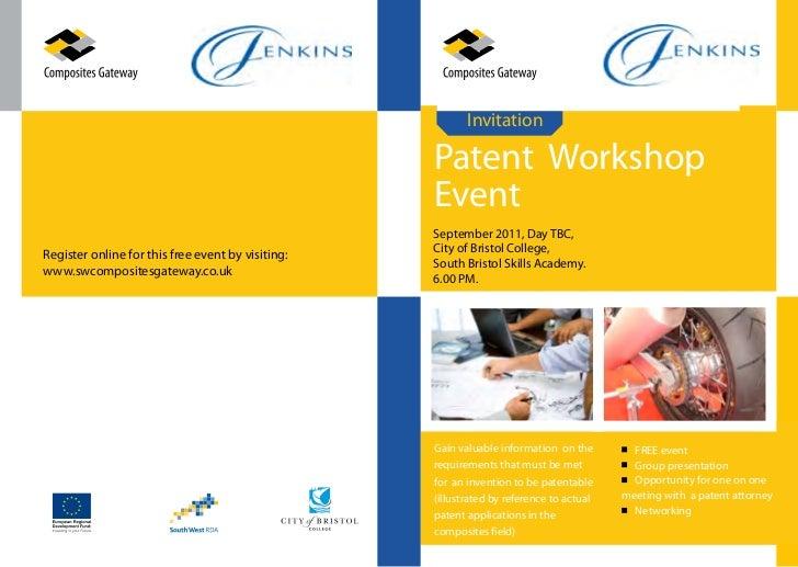 Invitation                                                   Patent Workshop                                              ...
