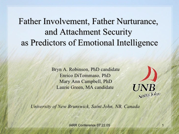 Father Involvement, Father Nurturance,  and Attachment Security  as Predictors of Emotional Intelligence Bryn A. Robinson,...