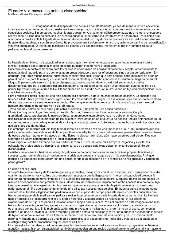 www.Todo Sobre El Bebe.comEl padre y lo masculino ante la discapacidadModificado el lunes, 25 de agosto de 2008           ...