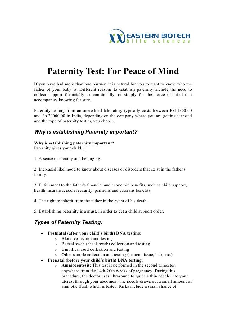 Dna paternity test in india for peace of mind for Where to go for dna testing