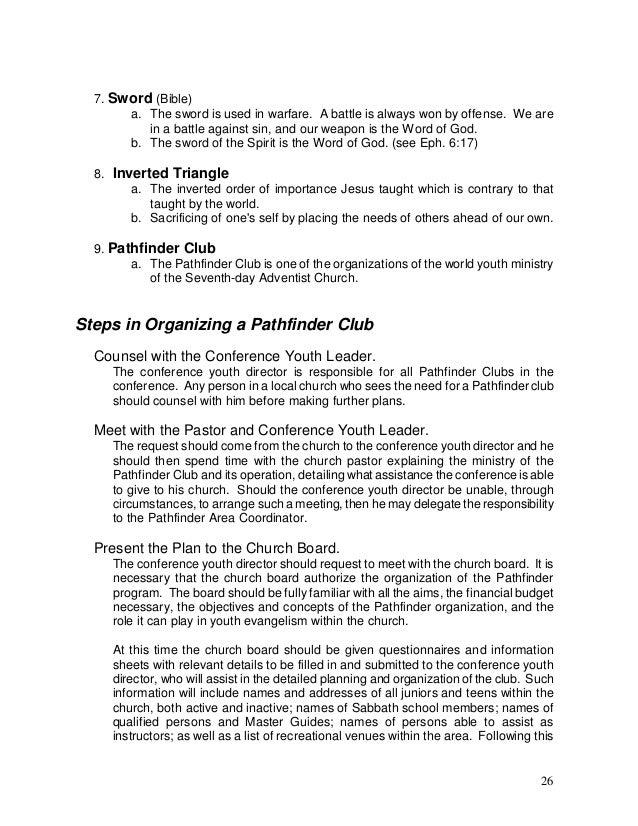 pathfinder administrative manual manual administrativo de conquista rh slideshare net SDA Pathfinders Friend Class Pathfinder Workbook