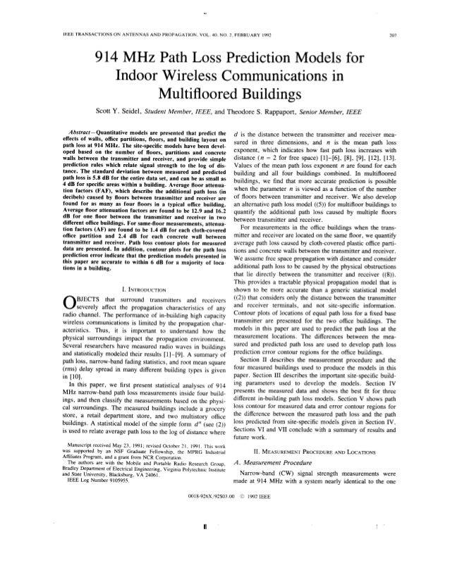 Path loss model frin indoor wireless communication