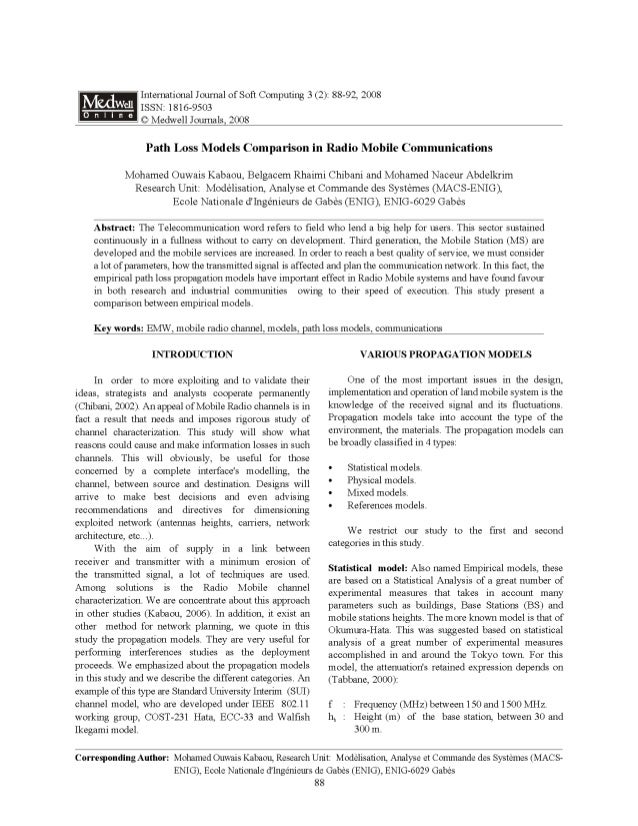 Path loss models comparation in radio mobile communications