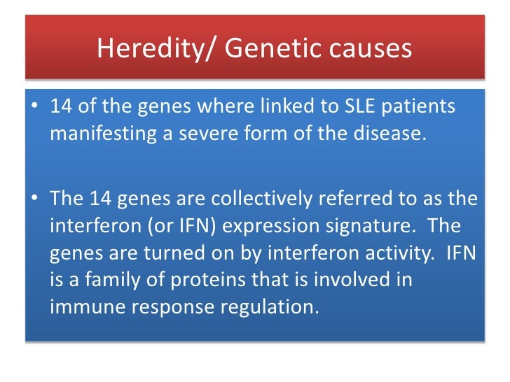 Heredity/ Genetic causes<br />14 of the genes where linked to SLE patients manifesting a severe form of the disease.<br />...