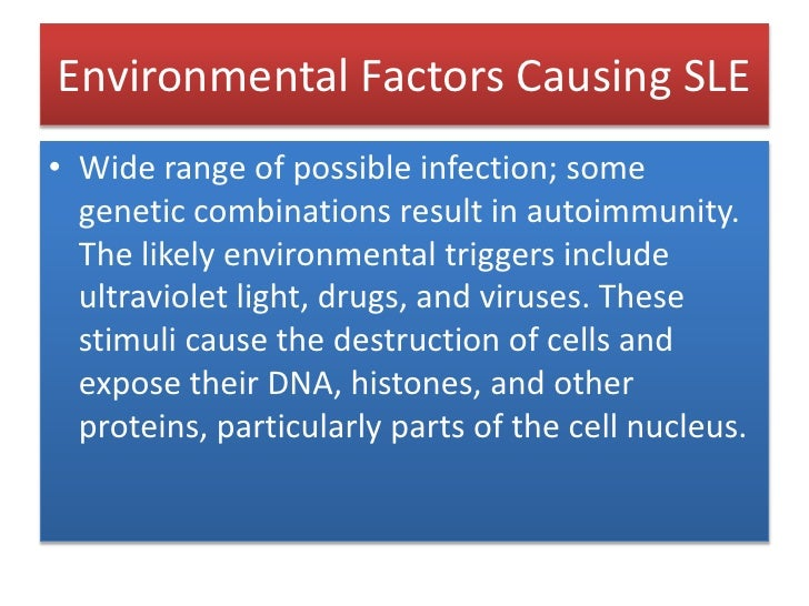 Environmental Factors Causing SLE<br />Wide range of possible infection; some genetic combinations result in autoimmunity....