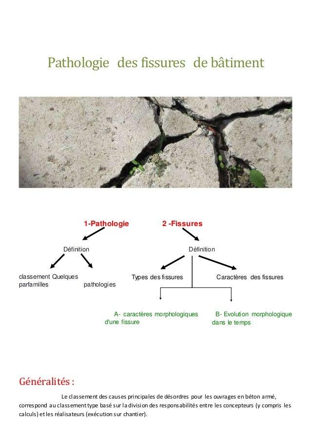 Pathologie des fissures de bâtiment 1-Pathologie 2 -Fissures Définition Définition classement Quelques parfamilles patholo...