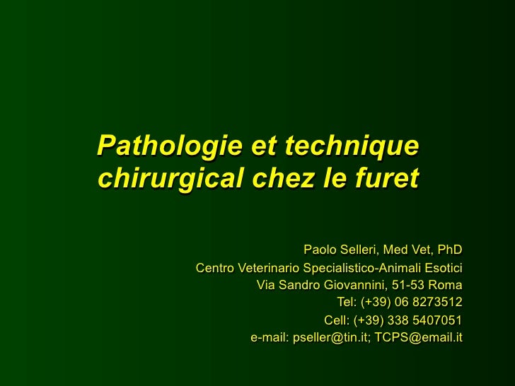 Pathologie et technique chirurgical chez le furet                            Paolo Selleri, Med Vet, PhD        Centro Vet...