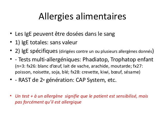 cap test allergie