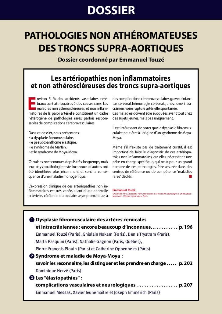 DOSSIERPathOlOgIES nOn athéROmatEuSES   DES tROncS SuPRa-aORtIquES                   Dossier coordonné par Emmanuel touzé ...