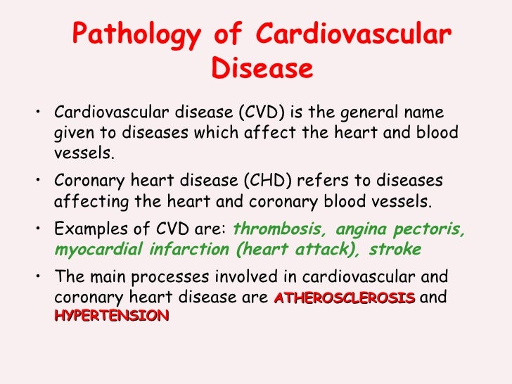 Pathology of Cardiovascular Disease <ul><li>Cardiovascular disease (CVD) is the general name given to diseases which affec...