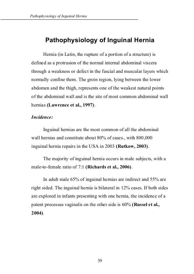 Pathophysiology of inguinal hernia