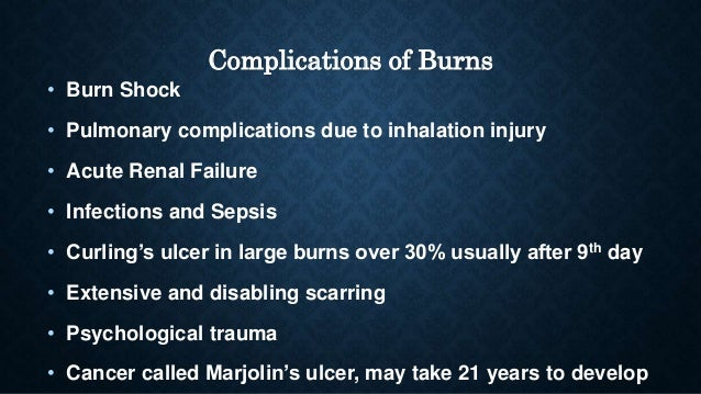 pathophysiology and complications of burn