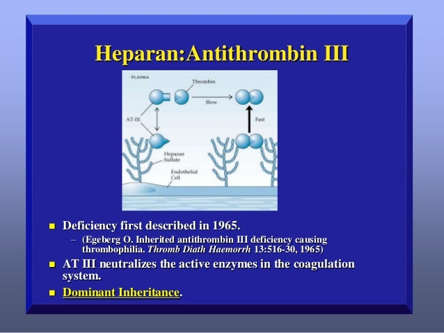 Heparan:Antithrombin III    Deficiency first described in 1965. – (Egeberg O. Inherited antithrombin III deficiency causi...