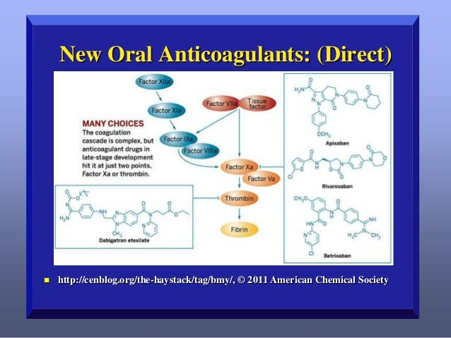 New Oral Anticoagulants: (Direct)    http://cenblog.org/the-haystack/tag/bmy/, © 2011 American Chemical Society