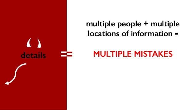 multiple people + multiple locations of information = MULTIPLE MISTAKES