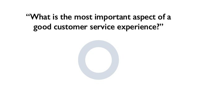"""""""What is the most important aspect of a good customer service experience?"""""""
