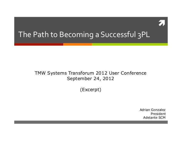 The Path to Becoming a Successful 3PL        TMW Systems Transforum 2012 User Conference                  S...
