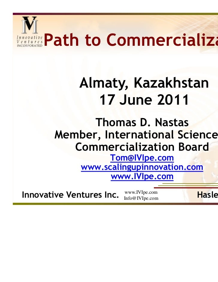 Path to Commercialization, Nastas Presentation to Winner of Grant Competition Slide 2